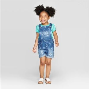 Girls' Star Print Jean Shortalls Cat & Jack™